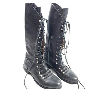 Miz Mooz 7.5 Tall Lace Up Combat Moto Boots Shoes
